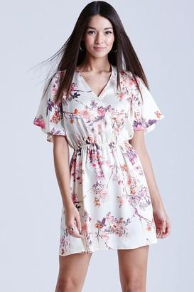 Girls On Film Oriental Print Kimono Wrap Dress