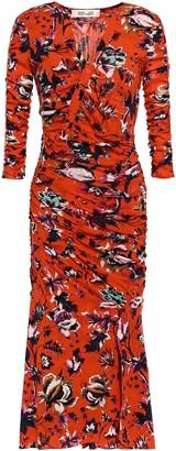 Diane von Furstenberg Ruched Floral-print Tulle Midi Dress