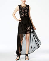 Morgan & Company Juniors' Lace Chiffon-Overlay Dress
