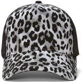 Mega Cap Womens Snow Leopard Print Fashion Trucker Cap (Silver)