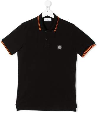 Stone Island Junior short sleeve contrast trim polo shirt