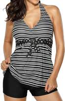 Imbry Women's Striped Tankini Set V Neck Halter Top and Shorts Plus Size (L, )