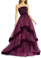 Mac Duggal 6-Week Shipping Lead Time Strapless Tiered Gown with Velvet Trim & Floral Appliques
