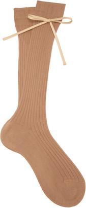 Prada Bow-Detailed Rib-Knit Knee Socks