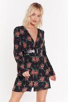 Nasty Gal Womens Grow Me How to Live Floral Polka Dot Dress - black - 4, Black