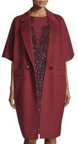 Escada Double-Breasted Kimono-Sleeve Cocoon Coat, Marsala