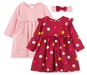 Little Me Baby Girls Polka Dot Knit Dress Set
