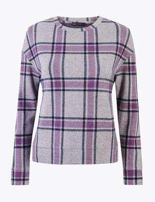 Marks and Spencer Cosy Checked Straight Fit Sweatshirt