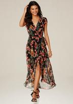 Bebe Print Wrap Maxi Dress