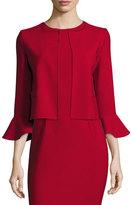 Oscar de la Renta Flounce-Sleeve Cropped Jacket, Dark Red