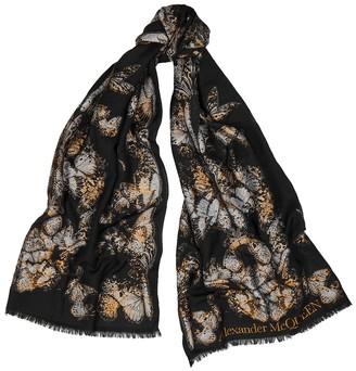 Alexander McQueen Butterfly-jacquard Wool-blend Scarf