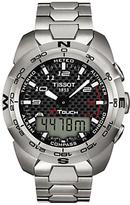 Tissot T0134204420200 T-touch Chronograph Perpetual Calendar Titanium Bracelet Strap Watch, Silver/black