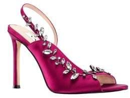 Nina Deanne Bejeweled Satin d'Orsay Sandals