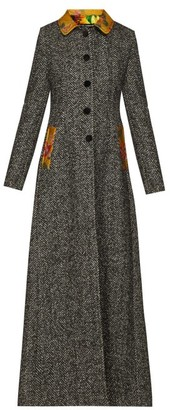 Dolce & Gabbana Brocade Trim Single Breasted Herringbone Coat - Womens - Grey Multi