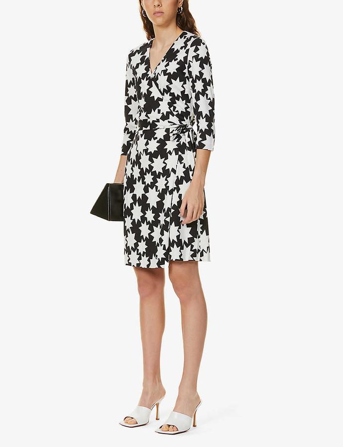 Diane von Furstenberg New Julian Two star-print silk-knit mini wrap dress