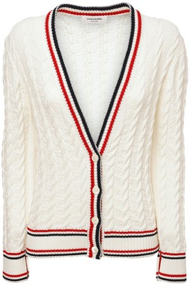 Thom Browne Ribbed Cotton Cable Knit V Neck Cardigan