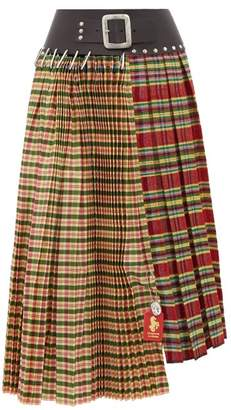Chopova Lowena - Tartan And Leather Recycled Wool Blend Skirt - Womens - Green Multi