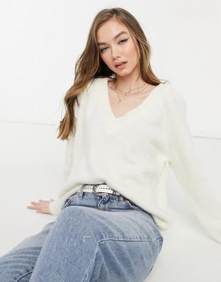 Bershka v-neck fluffy jumper in white