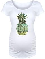 White Scenic Pineapple Maternity Scoop Neck Tee