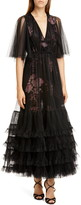 Giambattista Valli Pleated Tulle Overlay Floral Gown