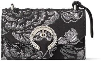 Jimmy Choo PARIS Black Brocade Top Handle Bag with Crystal Buckle