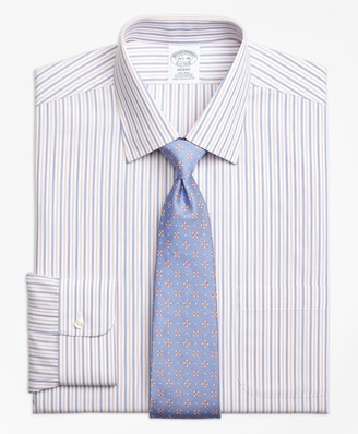 Brooks Brothers Regent Fitted Dress Shirt, Non-Iron End-on-End Alternating Stripe