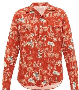 The Gigi - Araki Palm-tree Print Cuban-collar Shirt - Orange Multi