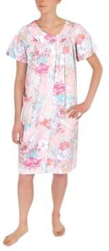 Miss Elaine Plus Size Floral-Print Short Snap Front Robe