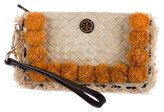 Tory Burch Embellished Woven Straw Clutch