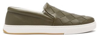 Bottega Veneta Intrecciato-weave Slip-on Leather Trainers - Mens - Khaki