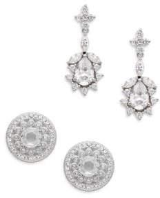 Adriana Orsini White Stone Stud & Drop Earring Gift Box Set/Silvertone