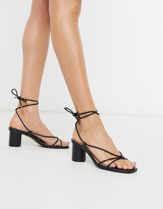 Steve Madden Ivanna strappy ankle tie heeled sandals in black