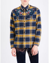 Gucci Wolf-embroidered Regular-fit Cotton-flannel Shirt