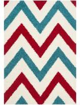 Safavieh Kids® 3-Foot 3-Inch x 7-Foot 6-Inch Chevron Shag Area Rug in Ivory/Red