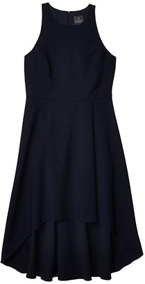 Adrianna Papell Pleat Detail High-Low Crepe Dress (Blue Moon) Women's Dress
