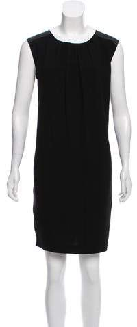 Burberry Leather-Trimmed Knee-Length Dress w/ Tags