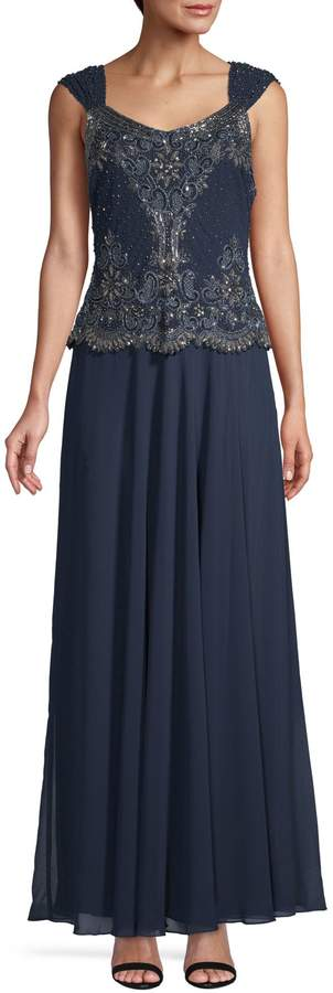 J Kara Beaded Maxi Gown