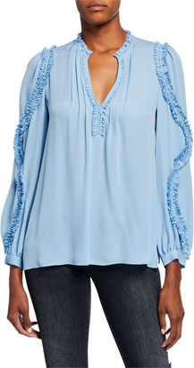 Kobi Halperin Esther V-Neck Long-Sleeve Ruffle-Trim Blouse