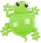 Cute Cartoon Gecko Kids Toothbrush Toothpaste Holder Wall Mounted Suction Cup Bathroom Decor-Green