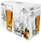 Libbey Set of 16 Crystal Tall and Short Glasses
