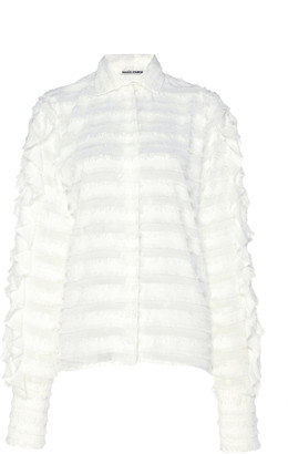 ANAÏS JOURDEN Confetti Ruffled Lace Button-Down Shirt