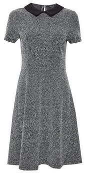 Dorothy Perkins Womens Black Jacquard Collar Fit And Flare Dress, Black
