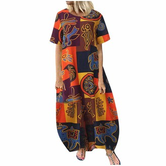 ZWQJYH Wome's Vintage Print Cotton Linen Maxi Dresses Casual Plus Size Short Sleeve Loose Boho Long Dress with Pockets Yellow