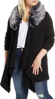 Single Thread Open Front Cardigan with Faux Fur Collar