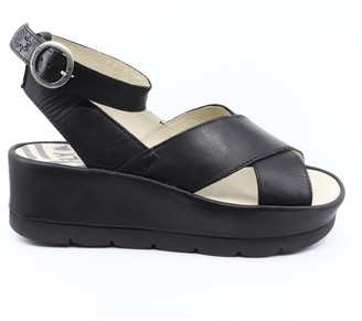Fly London Women's Sandals 000 - Black Rug BiteFly Platform Wedge Leather Sandal - Women