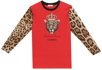 Dolce & Gabbana Leopard Queen cotton T-shirt