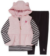 U.S. Polo Assn. 3-pc. Stripe Pant Set Girls
