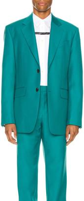 Givenchy Notch Lapel Oversize Jacket in Turquoise | FWRD