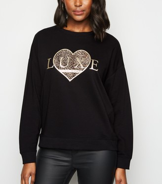 New Look Luxe Animal Print Heart Slogan Sweatshirt