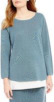 Eileen Fisher Round Neck Bracelet Sleeve Solid Sweater